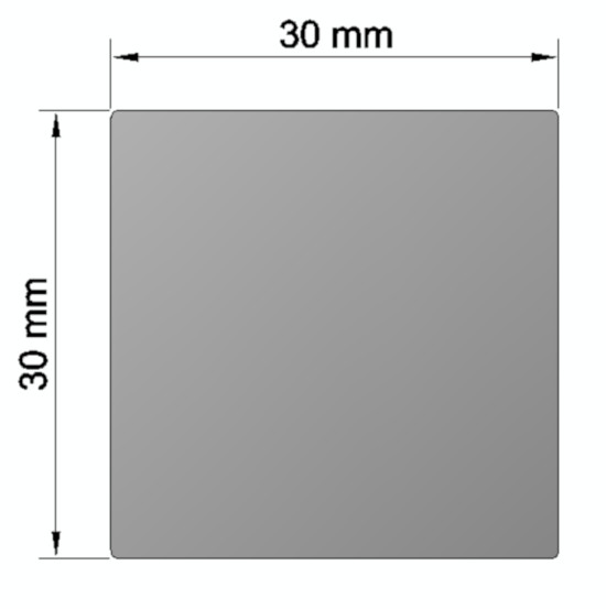 Aluminium square bar 30x30